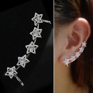 Silver Stars Wrapping Ear Cuff (Single, No Piercing) - LilyFair Jewelry