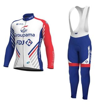 spring autumn 2018 pro team groupama fdj cycling jersey kits long sleeve Ropa Ciclismo quick-dry MTB bike clothing GEL pad sets