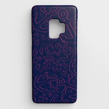 Anchor Dream Cell Phone Case Galaxy S9 - Pink on Navy