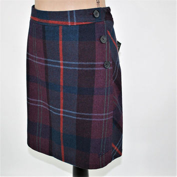 Wool Plaid Skirt Women Large Mini Skirt Short Wool Skirt Winter Skirt Tartan Burgundy Red Navy Blue Size 14 Skirt Woolrich Womens Clothing