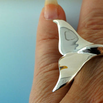 Whale Tail Rings - Single Whale Tail Ring - Sterling Silver - Adjustable