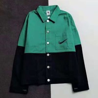 NIKE Autumn And Winter New Fashion Bust Hook Print And Letter Hook Print High Quality Long Sleeve Coat Top Green