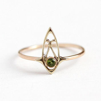 Vintage Peridot Ring - 10k Rosy Yellow Gold Green Gemstone - Antique Size 5 3/4 Stick Pin Conversion August Birthstone Fine Jewelry