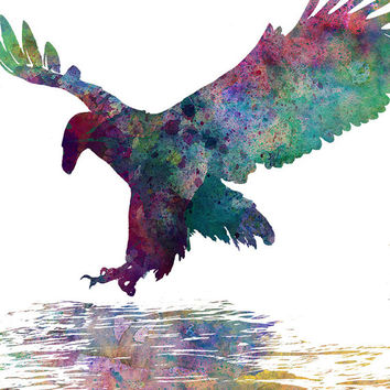 Fine Art print: hunting eagle, watercolor, ink, art print, wall decor, bird, animal, nature