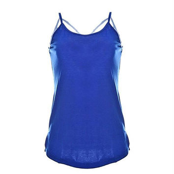 Loose Hollow Out Camisole Shirt Criss Cross Back Tank Tops for Women