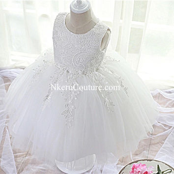 2017 Lace Flower Girl Christening Wedding Gown Baby Party Pageant Dress DW344
