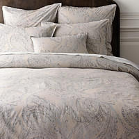 Garment-Dyed Percale Paisley Duvet Cover