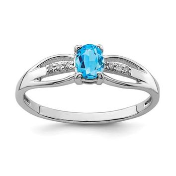 Sterling Silver Oval Swiss Blue Topaz and Diamond Ring
