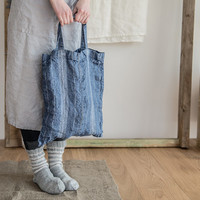 Washed and rough linen tote bag. Blue 100 % linen tote bag - 38cm x 42 cm