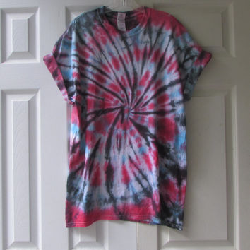 Bright Cobalt Blue, Hot Pink, and Black Unisex Tie Dyed Tee Shirt