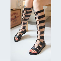 Gladiator Sandals Woman knee high sandalias botas femininas summer Sexy Cross-tied Lace up Women Boots Sandal Shoes