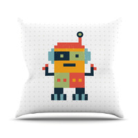 "Daisy Beatrice ""Happy Robot"" Multicolor Outdoor Throw Pillow"