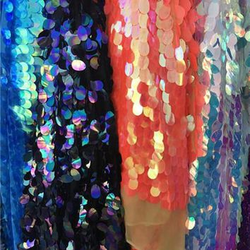 40mm oval fishskin sequins, mermaid beads, high-end dress fabrics