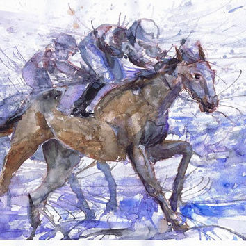 OOAK Race, riding horse, original watercolor, wall decor,  animal art