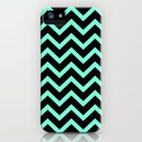 Tiffany Mint Black Zigzag Chevron Pattern iPhone Case by RexLambo | Society6