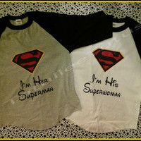 Super Cute Super Couple Baseball TShirts Inspired By the Super Hero In your Life