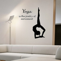 YOGA is the Poetry of Movement Quote Wall Decal Vinyl Sticker Art Decor Bedroom Design Mural interior namaste