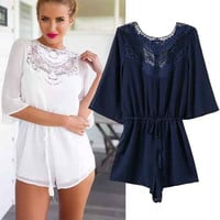 Women's Fashion Lace Patchwork Half-sleeve Backless Jumpsuit [5013290052]
