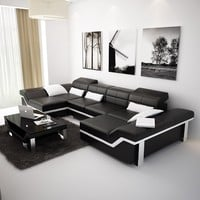 Large Black Modern Leather Sectionals - Opulentitems.com