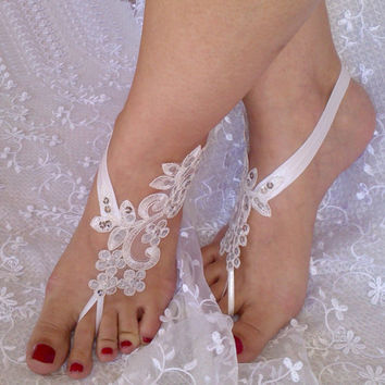 885bc146936415 Free ship ivory Beach wedding barefoot sandals shoes prom party bangle beach  anklets bangles bridal bride