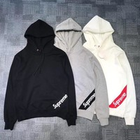 Supreme autumn and winter tide brand men and women oblique beveled hooded sweater