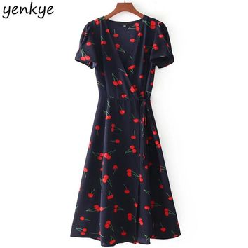 Summer Sweet Women Floral Printed A-line Dress Short Sleeve Cross V Neck Tie Waist Wrap Dresses Midi vestido DDOM7135