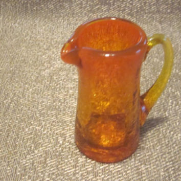 Vintage Crackle Glass Pitcher, Mini Art Glass Pitcher, Amberina Orange Amber, Miniature Hand Blown Pitcher, Rough Pontil 70s 80s 90s