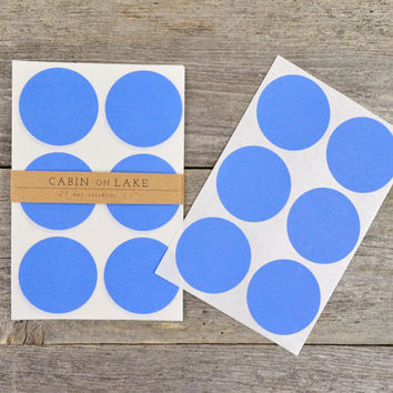 Large Cornflower Blue Circle Dot Stickers - 24 pc