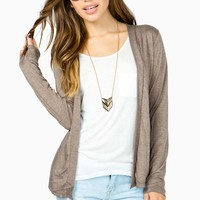 Heathered Open Front Cardi
