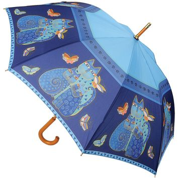 "Laurel Burch Stick Umbrella 42"" Canopy Auto Open-Indigo Cats"