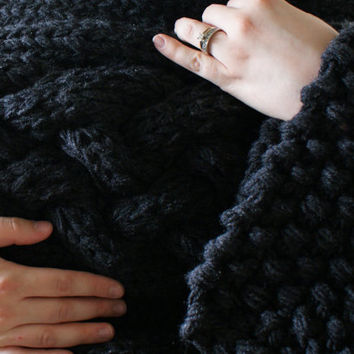 "Knitting PATTERN - Throw Blanket / Rug Super Chunky Double Cable Approximately 49"" x 64"""