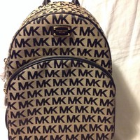 NWT MICHAEL KORS LARGE ABBEY BACKPACK MK SIGNATURE MONOGRAM BAG BG/BLK/LG $348.