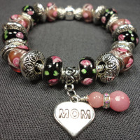 Raspberry and Black, Hearts and Roses Charm Bracelet With Mom Charm and Rhodonite