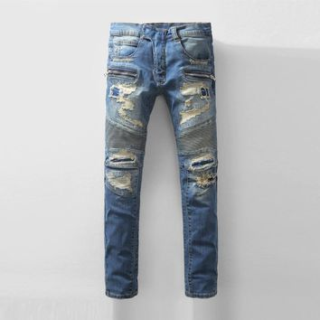 auguau Men's Distressed Biker Jeans