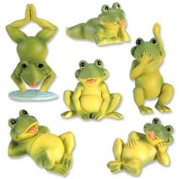 Frogs Playing Miniature Statue Set of 6 3.5H