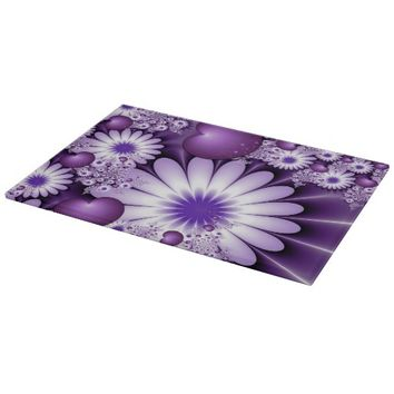 Falling in Love Abstract Flowers & Hearts Fractal Cutting Board