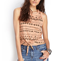 FOREVER 21 Knotted Tribal Print Top Peach/Charcoal