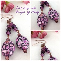 Purple Swarovski Mosaic Glass beaded Copper Dangle Handmade Earrings