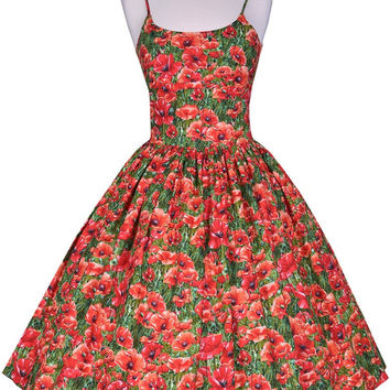 Chelsea Dress in Red Poppy Print