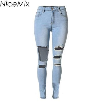 Plus Size NiceMix 2017 Vintage Ripped Jeans For Women High Waist Jeans Woman Skinny Pencil Pants Hole Denim Jeans Femme