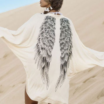 White Back Eagles Wings Printed Long Bat Sleeve Jacket