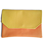 Envelope clutch, vegan clutch, yellow and coral clutch, crossbody bag