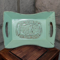 Wooden Bread Tray, Large Hand Painted Mint Green
