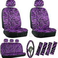 Zebra Purple Car Seat Cover 17 Pc Set