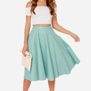 JOA Sock Hop Light Blue Vegan Leather Midi Skirt