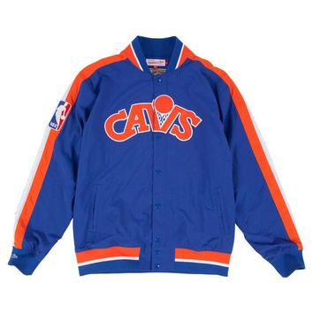 ONETOW Mitchell & Ness Cleveland Cavaliers NBA Net Warm Up Jacket In Blue