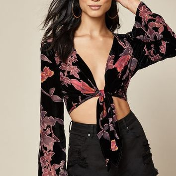 LA Hearts Velvet Tie Front Top at PacSun.com