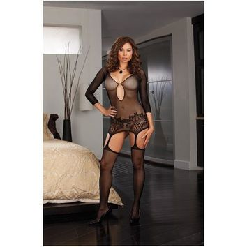 Fishnet Garter Dress w/Lace Hem & Attached Thigh Highs (Thong Not Included) Black QN