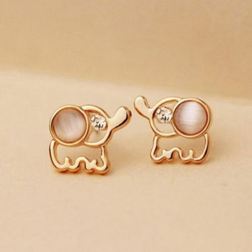 Women Rhinestone Opal Elephant Shape Stud Earrings