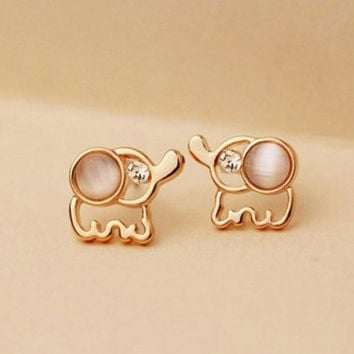 Super Cute Rhinestones Opal Elephant Stud Earrings